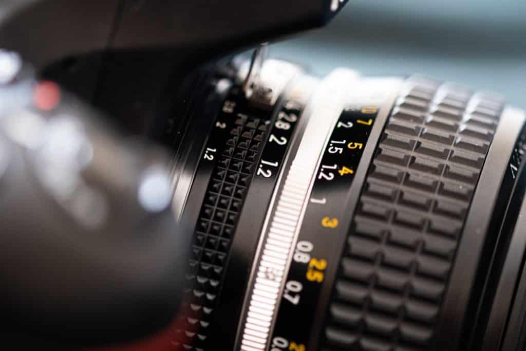 DSLR camera and lens closeup